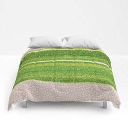 Leafs Stripes. green, white, stripes, nature, macro, leaf, leaves, decor, art, Society6. Comforters