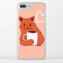 Peach Coffee Kitten Clear iPhone Case