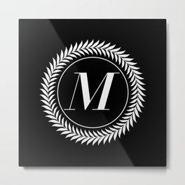 Monogram Laurel Wreath Design in Black - Letter M Vector Metal Print
