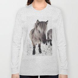 snowy Icelandic horse bw Long Sleeve T-shirt