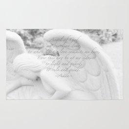Guardian Angel Prayer   White Angel   Religious Art   Baptism   First Communion Rug