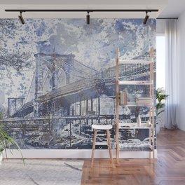 Brooklyn Bridge New York USA Watercolor blue Illustration Wall Mural