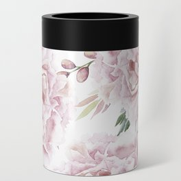 Girly Pastel Pink Roses Garden Can Cooler