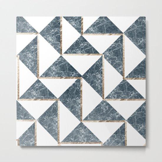 Into The Ocean Gold Foil Geometric Pattern #3 Metal Print