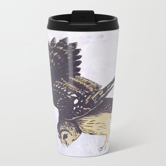 Solitary Owl Metal Travel Mug