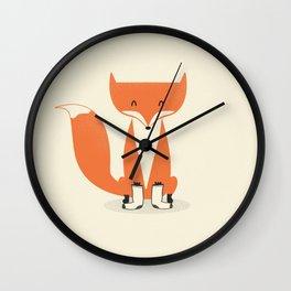 A Fox With Socks Wall Clock