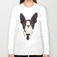 boston terrier Long Sleeve T-shirts featuring Boston Terrier by brit eddy