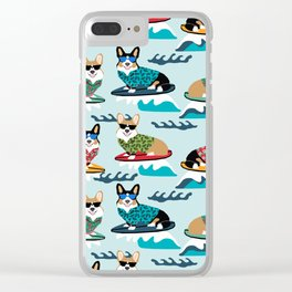 Corgi SUP Paddleboarding surfing watersports athlete summer fun dog breed Clear iPhone Case