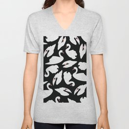 White Swans on Black seamless pattern Unisex V-Neck