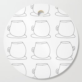 Coffee Illustration Tea Cups Pattern - Drink Coffee, Have Some Tea, Talk About Love Cutting Board