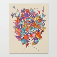 birdy Canvas Prints featuring Birdy by Julia Sonmi Heglund