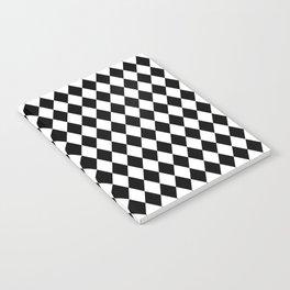 Classic Black and White Harlequin Diamond Check Notebook