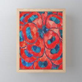 Red and Blue Diamond Pattern Framed Mini Art Print