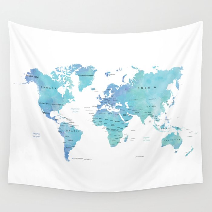 Watercolour world map wall tapestry by byzuzula society6 watercolour world map wall tapestry gumiabroncs Images