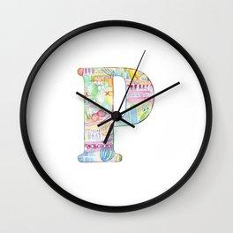 Letter P - Watercolor Monogram - Colorful Lettering - Watercolor Letter Print - Watercolor Initial Wall Clock