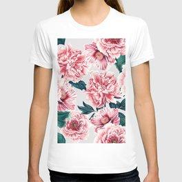 Pattern pink vintage peonies T-shirt