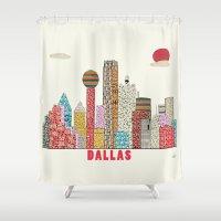 dallas Shower Curtains featuring dallas skyline  by bri.buckley