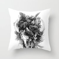 cycle Throw Pillows featuring Cycle by April Schumacher