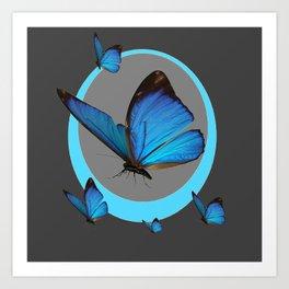 NEON BLUE BUTTERFLIES  & CHARCOAL GREY PATTERN Art Print