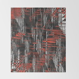 Red and Black Modern Art Throw Blanket