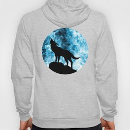 Howling Winter Wolf snowy blue smoke Hoody