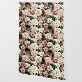 Vintage & Shabby Chic Pink Floral camellia flowers watercolor pattern Wallpaper