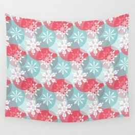 Christmas Snowflakes in Abstract Red and Blue Circles Wall Tapestry