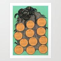 calendar 2015 Art Prints featuring Sheep Calendar 2015 by Julia Kisselmann