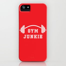 Gym Junkie Duffel Gym Sports Leisure Bag Red White iPhone Case