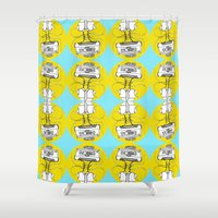 cassette Shower Curtains featuring Cassette by Molly Yllom Shop