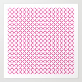 Hot Pink Quatrefoil Pattern Art Print