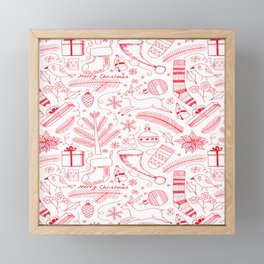 Doodle Christmas pattern red Framed Mini Art Print