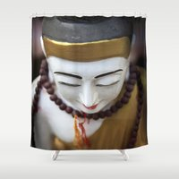 buddha Shower Curtains featuring Buddha by Maria Heyens