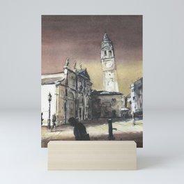 Leaning tower of Church of Santa Maria Formosa.   The leaning tower of Venice, Italy artwork church belltower watercolor art Mini Art Print