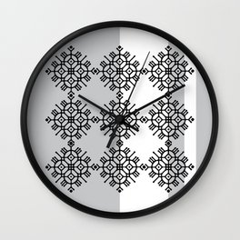 black and white pattern Wall Clock