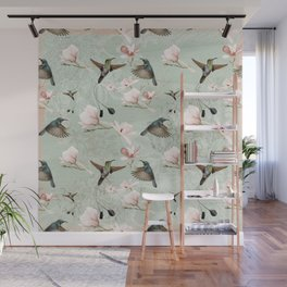 Vintage Watercolor hummingbird and Magnolia Flowers on mint Background Wall Mural