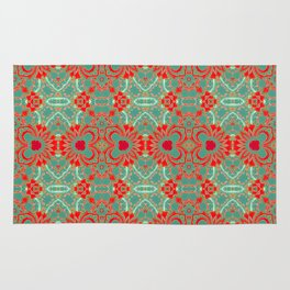 Bohemian Turquoise Coral White Floral Brocade Rug
