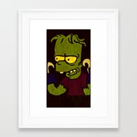simpson Framed Art Prints featuring Bart Simpson by Jide