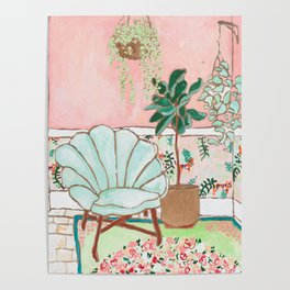 Art Deco Velvet Mint Shell Chair in Jungle Room with Tigers Poster