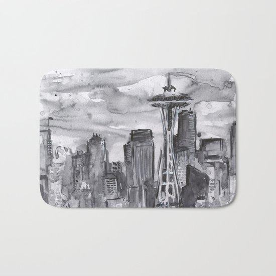 Seattle Skyline Watercolor Space Needle Washington PNW Bath Mat
