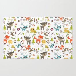 Cute Woodland Creatures Pattern Rug