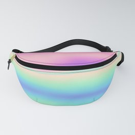 Holographic Foil Colorful Pattern Abstract Pastel Neon Multi Colored Soft Blurry Texture Fanny Pack