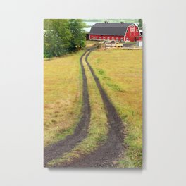 Red Barn Dirt Road Metal Print