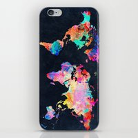 map of the world iPhone & iPod Skins featuring World map by Bekim ART