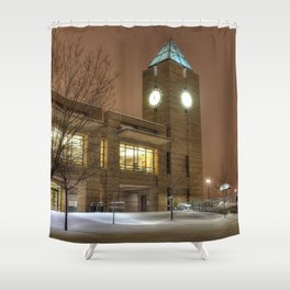 Snowy Clocktower Shower Curtain
