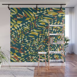 Tropical Color in blue 1950 Wall Mural