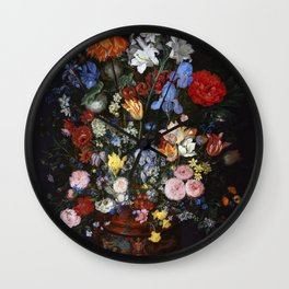 "Jan Brueghel the Elder ""Flowers in a Vase"" Wall Clock"