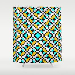 Geometric Inverse Turquoise & Yellow Shower Curtain