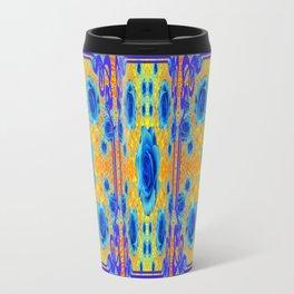 Art Nouveau Blue-golden Roses Abstract Design. Travel Mug