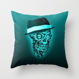 Elegant Skull with hat,mint Throw Pillow